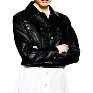 Western Cropped Faux Leather Jacket - SIZE 10